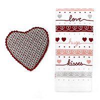 Celebrate Valentine's Day Together Heart Pot Holder & Kitchen Towel