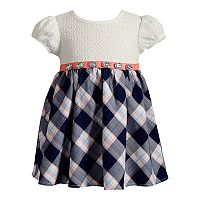 Baby Girl Youngland Black & White Plaid & Crochet Lace Dress