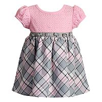 Baby Girl Youngland Plaid & Crochet Lace Dress
