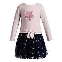 Toddler Girl Youngland Star Tie Front Tutu Skirt Sweater Dress