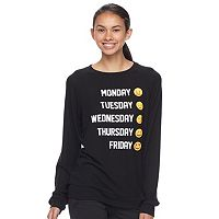 Junior's Emoji Days of the Week Brushed Hatchi Pullover Top
