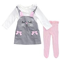 Toddler Girl Youngland Kitty Cat Corduroy Jumper, Bodysuit & Tights Set