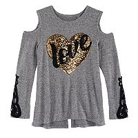 Girls 7-16 Miss Chievous Cold Shoulder Sequin Applique Tee