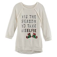 Girls 7-16 Miss Chievous Christmas 3/4-Sleeve Sequin Hatchi Tunic