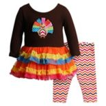 Toddler Girl Youngland Turkey Applique Ruffled Dress & Chevron Leggings Set