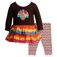 Toddler Girl Youngland Turkey Applique Ruffled Dress & Chevron Leggings Set