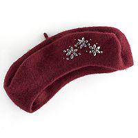 Women's Apt. 9® Rhinestone Floral Wool Beret