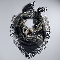 Simply Vera Vera Wang Open Weave Plaid Fringed Square Scarf