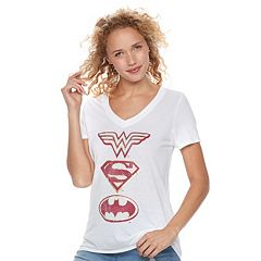Juniors' DC Comics Justice League Shields Graphic Tee