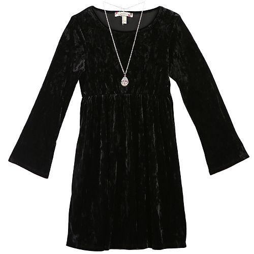Girls 7-16 & Plus Size Speechless Velvet Dress with Necklace