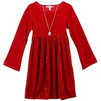 Girls 7-16 & Plus Size Velvet Dress with Necklace