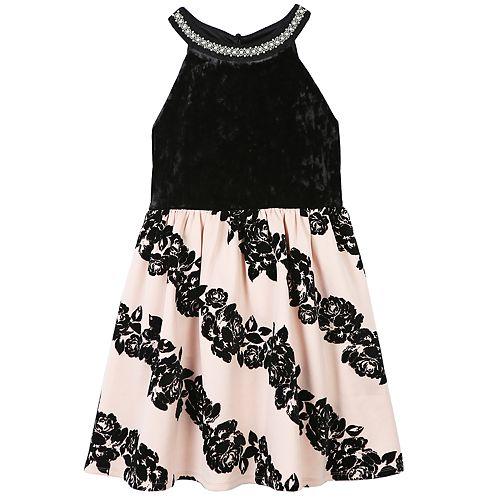 1eb0d9113c0 Girls 7-16   Plus Size Speechless Flocked Rose Skirt Dress