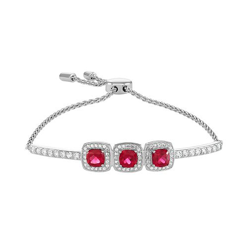Sterling Silver 3-Stone Lab-Created Ruby & Lab-Created White Sapphire Bracelet