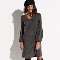 k/lab Metallic Bishop Sleeve Shift Dress