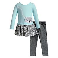 Baby Girl Youngland Fox Applique Floral Dress & Leggings Set