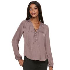 Women's Jennifer Lopez Embellished Lace-Up Blouse