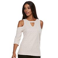 Women's Jennifer Lopez Cold-Shoulder Boucle Top
