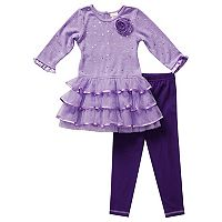 Baby Girl Youngland Tiered Ruffle Sweater Dress & Leggings Set
