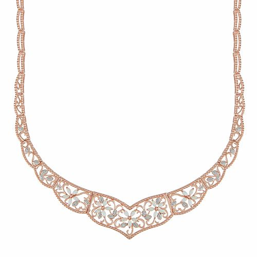 14k Rose Gold Over Silver White Opal & Lab-Created White Sapphire Flower Necklace