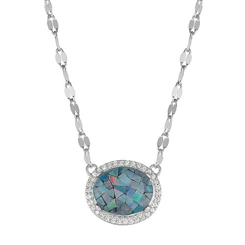 Sterling Silver Lab-Created Blue Opal Oval Pendant Necklace