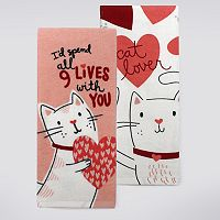 Celebrate Valentine's Day Together Cat Lover Kitchen Towel 2-pk.