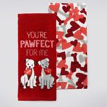 Celebrate Valentine's Day Together Dogs Kitchen Towel 2-pk.