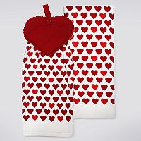 Celebrate Valentine's Day Together Heart Button-Top Kitchen Towel 2-pk.