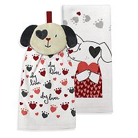 Celebrate Valentine's Day Together Dog Lover Button-Top Kitchen Towel 2-pk.