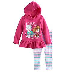 Toddler Girl Paw Patrol Everest & Skye Hooded Top & Striped Leggings Set