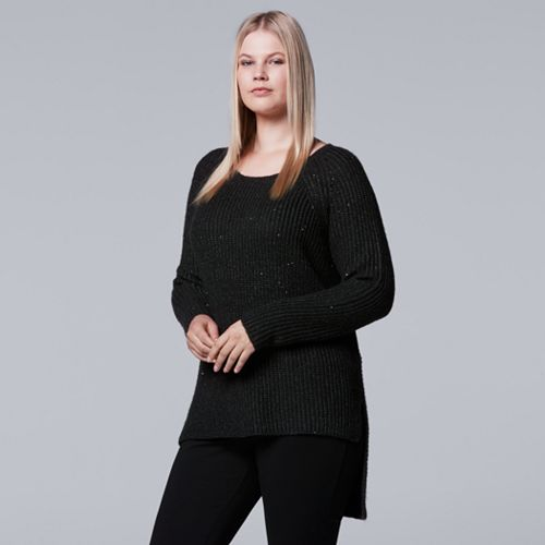 Plus Size Simply Vera Vera Wang Asymmetrical Pullover