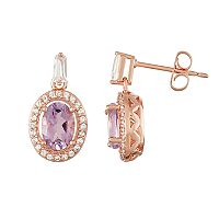 14k Rose Gold Over Silver Amethyst & Lab-Created White Sapphire Halo Drop Earrings