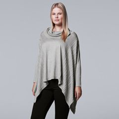 Plus Size Simply Vera Vera Wang Lightweight Sweater Poncho
