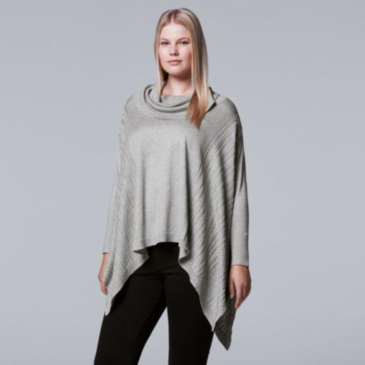 Plus Size Simply Vera Vera Wang Lightweight Sweater Poncho