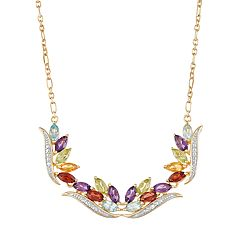 14k Gold Over Silver Gemstone & Diamond Accent Necklace