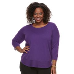 Plus Size Dana Buchman Curved Hem Sweater