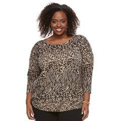 Plus Size Dana Buchman Curved Hem Sweater