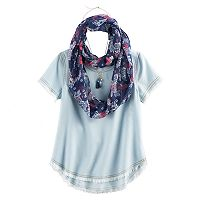 Girls 7-16 Self Esteem Fray Edge Tee & Infinity Scarf Set with Necklace
