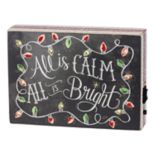 "Pre-Lit ""All Is Calm"" Christmas Box Sign Art"