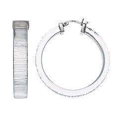 AMORE by SIMONE I. SMITH Platinum Over Silver Lucite Hoop Earrings