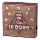 "Pre-Lit ""Child Is Born"" Christmas Box Sign Art"