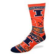 Adult For Bare Feet Illinois Fighting Illini Super Fan Crew Socks
