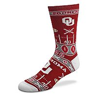 Adult For Bare Feet Oklahoma Sooners Super Fan Crew Socks
