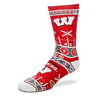 Adult For Bare Feet Wisconsin Badgers Super Fan Crew Socks