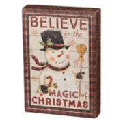 "Snowman ""Believe"" Christmas Box Sign Art"