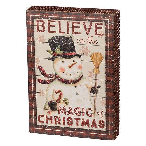 """Snowman """"Believe"""" Christmas Box Sign Art"""