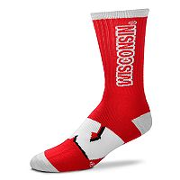 Adult For Bare Feet Wisconsin Badgers Crush Crew Socks