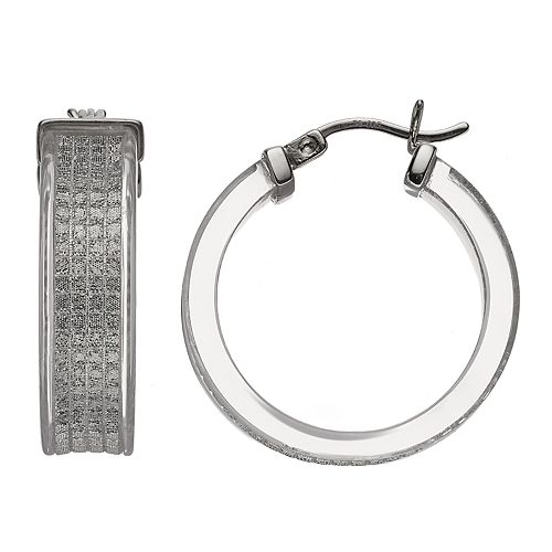 AMORE by SIMONE I. SMITH Platinum Over Silver Lucite Glitter Hoop Earrings