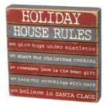 """Holiday House Rules"" Christmas Box Sign Art"