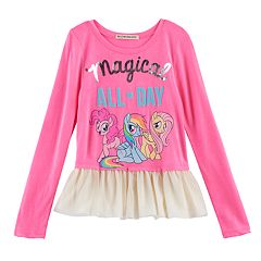 Girls 4-7 My Little Pony: The Movie Pinkie Pie, Rainbow Dash & Fluttershy 'Magical All Day' Ruffle Top