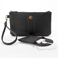 Stone & Co. Pebbled Leather Phone Charging Wristlet